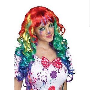 🎉1 LEFT🎉Rainbow Curlz Adult Clown Wig